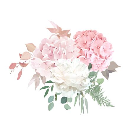 Dusty pink blush, white and creamy hydrangea, peony flowers vector design wedding bouquet. Eucalyptus, greenery. Floral pastel watercolor style.Blooming floral card. Elements are isolated and editable