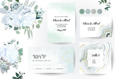 Set of jade crystal geode green horizontal vector frames, flowers.Stylish sage color textured cards.Gold border.Sparkling gems.Natural stone.Trendy wedding watercolor invitations.Isolated and editable