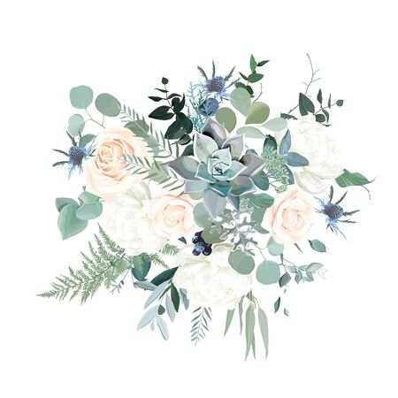 Silver sage green, pink blush and white flowers vector design spring bouquet. Peony, rose, succulent, thistle, eucalyptus, greenery. Wedding floral garland. Pastel watercolor. Isolated and editable