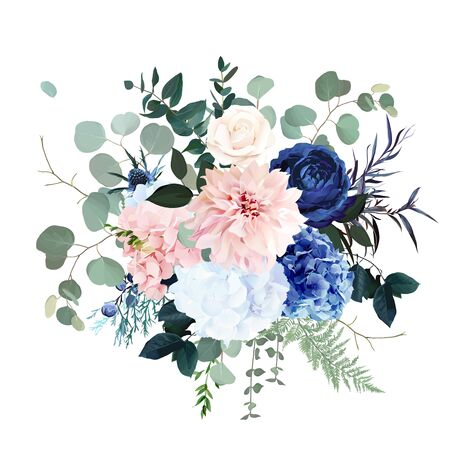Classic blue rose, pink hydrangea, ranunculus, dahlia, thistle flowers, emerald greenery and eucalyptus, juniper leaves vector design bouquet.Trendy color wedding floral bunch. Isolated and editable Vettoriali