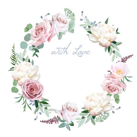 Dusty rose, peony, camellia, greenery selection vector design round invitation frame. Wedding greenery. Pink, blue, green tones. Watercolor save the date card.Summer rustic style.Isolated and editable
