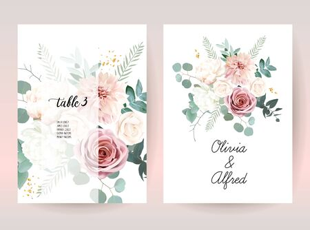 Silver sage green and blush pink flowers vector design frames. Beige and dusty rose, white ivory peony, dahlia, eucalyptus, greenery. Wedding floral garland. Pastel watercolor. Isolated and editable