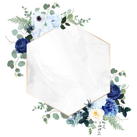 Royal blue, navy garden rose, white hydrangea flowers, anemone, thistle, eucalyptus, vector design marble frame. Textured card. Eucalyptus, greenery. Floral geometric style. Isolated and editable