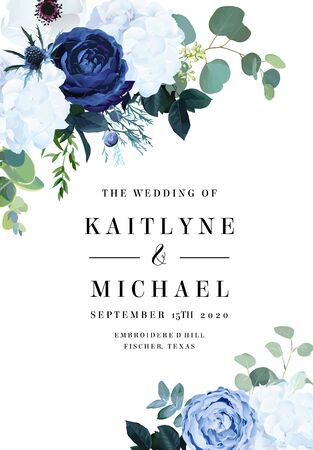 Classic blue rose, white hydrangea, ranunculus, anemone, thistle flowers, emerald greenery and eucalyptus, juniper leaves vector design frame.Trendy color wedding card template. Isolated and editable