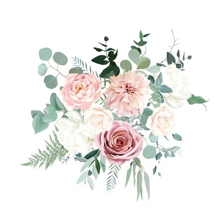 Silver sage green and blush pink flowers vector design bouquet. Beige and dusty rose, white ivory peony, dahlia, eucalyptus, greenery. Wedding floral garland. Pastel watercolor. Isolated and editable