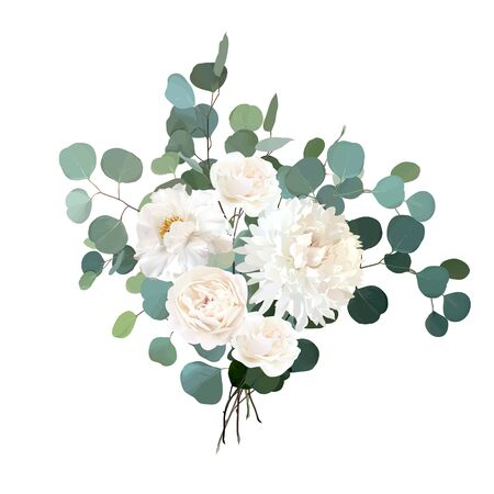 Ivory beige rose, white peony, ranunculus, chrysanthemum flower vector design wedding bouquet.Eucalyptus, greenery.Floral pastel watercolor style. Spring bouquet. Elements are isolated and editable