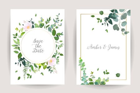 Herbal minimalistic vector frames. Hand painted eucalyptus, branches, leaves on white background. Greenery wedding simple invitation. Watercolor style cards. All elements are isolated and editable