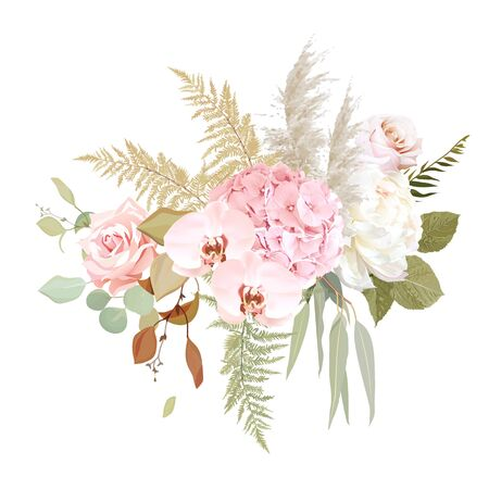 Luxurious beige trendy vector design floral bouquet. Pastel pink rose, creamy peony, blush hydrangea, white orchid, pampas grass, fern, eucalyptus.Wedding decoration.Elements are isolated and editable