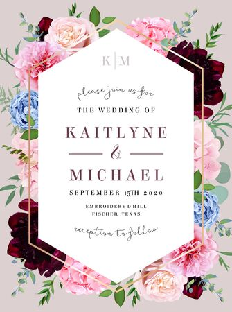 Square baroque floral label pink frame arranged from leaves and flowers. Blush pink rose, burgundy dark red peony, hydrangea, blue fern, greenery vector design. Autumn moody card.Isolated and editable