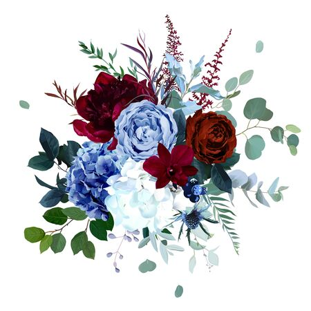 Royal blue, navy garden rose, white hydrangea, burgundy red peony flowers, orchid, anthurium, thistle, eucalyptus, berry vector design wedding bouquet. Floral watercolor style. Isolated and editable