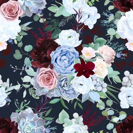 Seamless vector design pattern of dusty blue garden rose, white anemone
