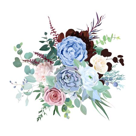 Elegant floral vector bouquet with burgundy red peony, dusty pink rose, blue and white flowers, eucalyptus, brunia, echeveria, mixed plants. Watercolor style wedding floral card. Isolated and editable Vector Illustratie