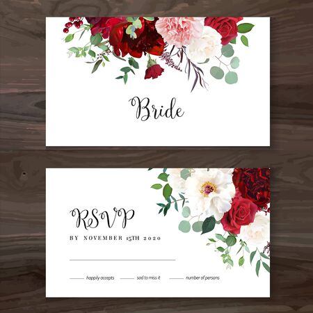 Classic luxurious red roses, pink carnation, white peony, berry, astilbe, eucalyptus vector design wedding cards. Elegant wedding rsvp invitations with bunches of flowers. Isolated and editable.