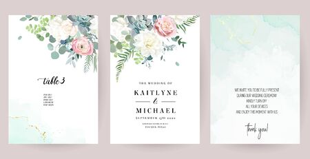 Silver sage green, mint, blue, white flowers vector design spring cards. White peony, dahlia, dusty pink rose, succulent, eucalyptus, greenery. Floral wedding frames.Elements are isolated and editable