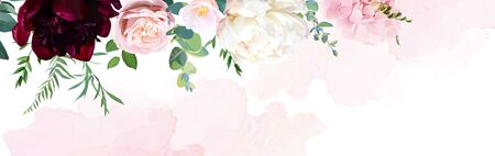 Trendy simple flat lay design vector horizontal background. Pink hydrangea, palm leaves, burgundy red and white peony, rose, camellia, watercolor style texture. Spring card. Isolated and editable