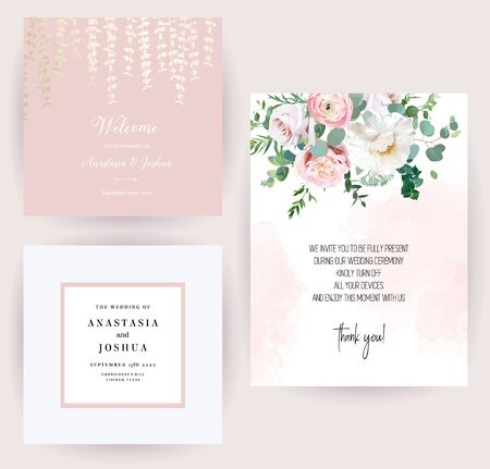 Elegant wedding cards with pink watercolor texture and spring flowers Çizim
