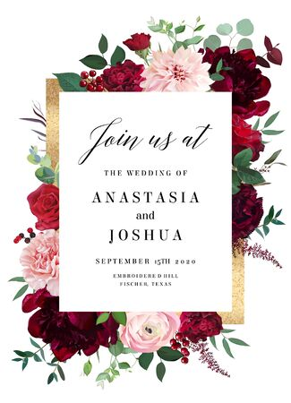 Classic luxurious red roses, marsala carnation, peony, berry, ranunculus, dusty pink dahlia, eucalyptus vector design wedding card. Golden frame. Elegant fall flowers invitation. Isolated and editable