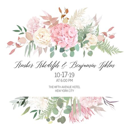Dusty pink blush, white and creamy hydrangea, peony flowers vector design wedding frame. Eucalyptus, greenery. Floral pastel watercolor style. Blooming floral card. Elements are isolated and editable