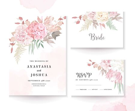Elegant wedding cards with pink watercolor texture and dry flowers. White peony, ranunculus, hydrangea, protea, eucalyptus, greenery. Floral vector design frame. All elements are isolated and editable
