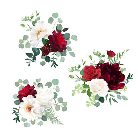 Classic red roses, white and burgundy peony, berry, eucalyptus, maidenhair fern, greenery wedding design bouquet. Luxury fall flowers vector. Autumn bunch of flowers.Elements are isolated and editable