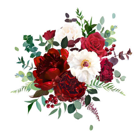 Classic luxurious red rose, carnation, white peony, berry, burgundy astilbe, emerald eucalyptus, greenery vector design wedding bouquet. Elegant wedding bunch of flowers. Isolated and editable