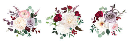 Classic luxurious red and dusty mauve roses, pink ranunculus, dahlia, white peony, berry, astilbe, eucalyptus vector design wedding bouquets. Elegant wedding bunches of flowers. Isolated and editable.