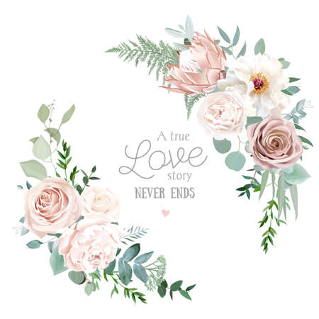 Silver sage and blush pink flowers vector round frame. Creamy beige and dusty rose, white peony, protea, ranunculus, eucalyptus. Wedding floral. Pastel watercolor background. Isolated and editable Ilustracje wektorowe