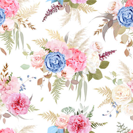 Luxurious bright trendy vector design floral print. Pastel pink rose, peony, blue ranunculus, blush hydrangea, white orchid, pampas grass, eucalyptus.Wedding pattern.Elements are isolated and editable 스톡 콘텐츠