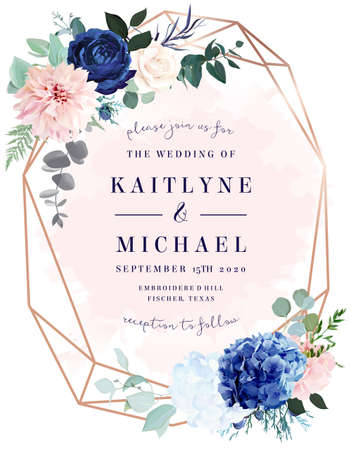 Royal blue rose, white hydrangea, dahlia, eucalyptus, juniper vector design frame Stock Illustratie