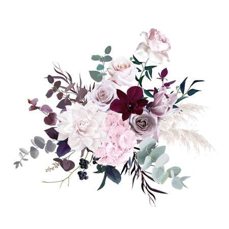 Dusty pink, pastel, mauve flowers glamour vector design wedding bouquet