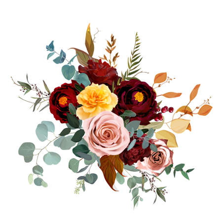 Mustard yellow and dusty pink rose, burgundy red dahlia, emerald green and teal blue eucalyptus