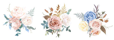 Desert dusty brown and yellow rose, beige peony, pastel pink protea, blue ranunculus 일러스트