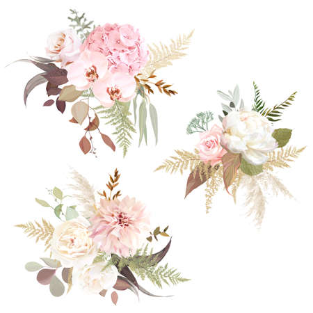 Luxurious beige trendy vector design floral bouquets. Pastel pink rose, creamy peony, blush hydrangea, orchid, dahlia, ranunculus, pampas grass, eucalyptus. Wedding decoration. Isolated and editable