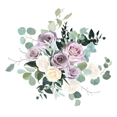 Dusty violet lavender, mauve antique rose, purple pale and ivory yellow flowers vector design wedding bouquet. Eucalyptus, greenery. Floral pastel watercolor style. Elements are isolated and editable  イラスト・ベクター素材