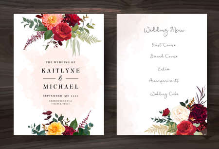 Moody boho chic wedding vector bouquet cards