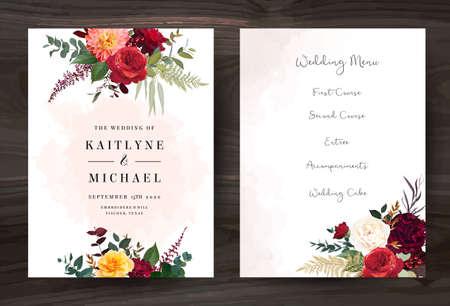 Moody boho chic wedding vector bouquet cards Vector Illustratie