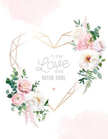 Flower geometric heart line art vector design frame Vektorové ilustrace