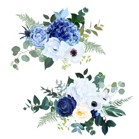 Classic navy blue rose, white hydrangea, ranunculus, anemone, dark thistle flowers, greenery and eucalyptus, juniper, green leaves vector bouquets.Trendy color collection set. Isolated and editable