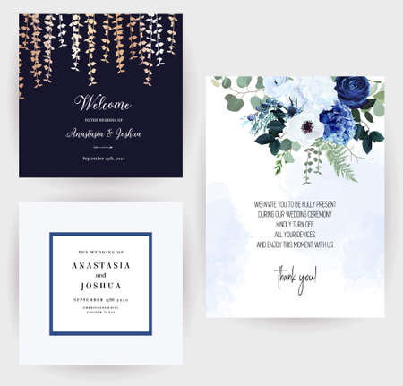 Classic blue rose, white hydrangea, ranunculus, anemone, thistle flowers, greenery and eucalyptus, juniper,gold leaves vector design cards set.Trendy color invitation collection. Isolated and editable 일러스트