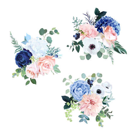 Classic navy blue, white, blush pink rose, hydrangea, ranunculus, dahlia, anemone, peony, thistle flowers, greenery and eucalyptus wedding vector bouquets.Trendy color collection.Isolated and editable 일러스트