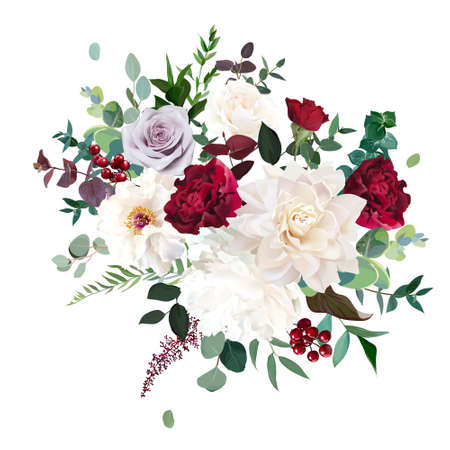 Classic luxurious red and mauve purple rose, white peony, beige dahlia, burgundy astilbe