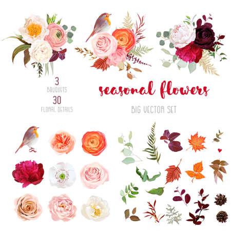 Peachy rose, white and burgundy red peony, orange ranunculus