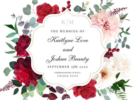 Curved round frame. Elegant fall flowers invitation