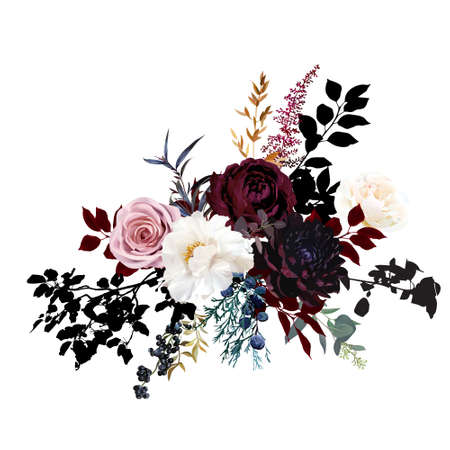 Burgundy red and dusty pink flowers glamour vector design bouquet