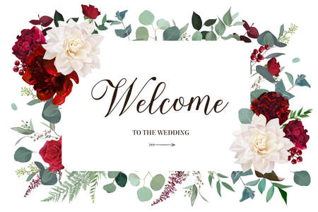 Classic luxurious red roses, burgundy peony, marsala carnation, ivory white dahlia, berry, eucalyptus