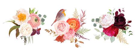 Peachy rose, white and burgundy red peony, orange ranunculus, carnation 矢量图像