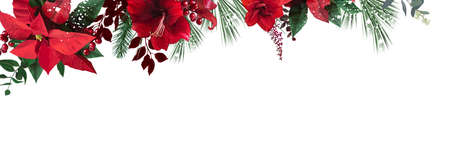 Emerald christmas greenery, red poinsettia, amaryllis, spruce, fir vector design banner 일러스트