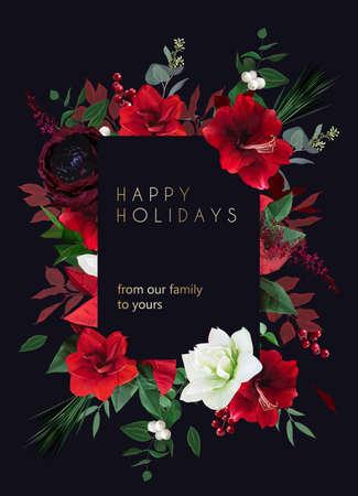 Christmas joy black floral vector frame. Red amaryllis, poinsettia,green fir branch, holly