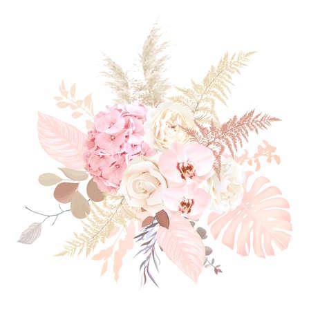 Luxurious beige trendy vector design floral bouquet