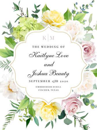 Elegant wedding card with summer flowers Ilustração